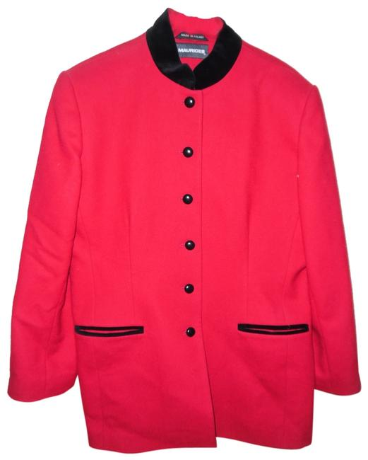 Preload https://item1.tradesy.com/images/maurices-red-black-vintage-90s-button-dress-trench-coat-size-12-l-10493830-0-1.jpg?width=400&height=650
