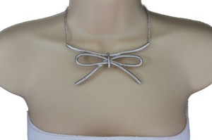 Women Silver Necklace Metal Chain Knot Bow Tie Charm Pendant Fashion Jewelry Set