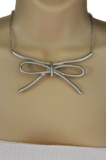 Other Women Silver Necklace Metal Chain Knot Bow Tie Charm