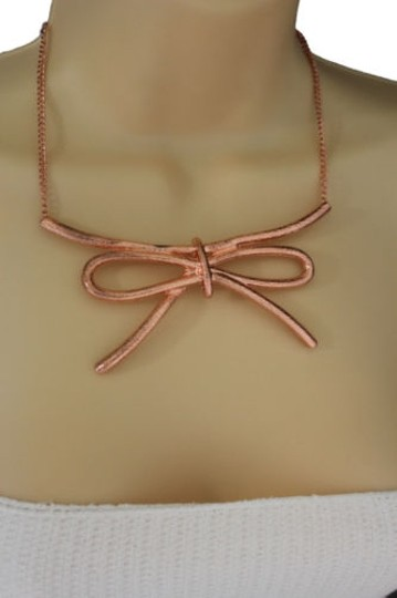 Other Women Copper Necklace Metal Chain Knot Bow Tie Charm Pendant Fashion Jewelry Set