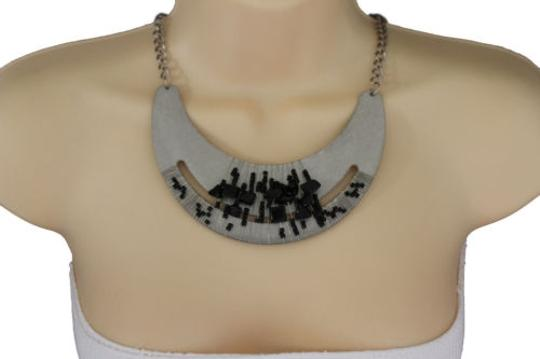 Preload https://item1.tradesy.com/images/women-silver-necklace-metal-chain-plate-black-stone-bead-fashion-jewelry-earring-10494295-0-0.jpg?width=440&height=440