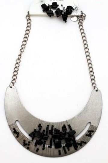 Other Women Silver Necklace Metal Chain Plate Black Stone Bead Fashion Jewelry Earring