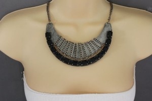 Other Women Antique Silver Necklace Metal Chain Black Bead Fashion Jewelry Vintage