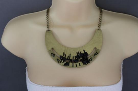 Other Women Gold Necklace Metal Chains Plate Black Stone Beads Fashion Jewelry Earring