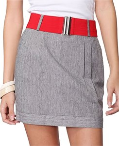 Forever 21 21 Woven Linen High Waisted Mini Light Mini Skirt Gray Red