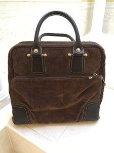 Bally Corduroy Leather Stiching Roomy Travel Weekender Work Multiple Compartments Brown Travel Bag