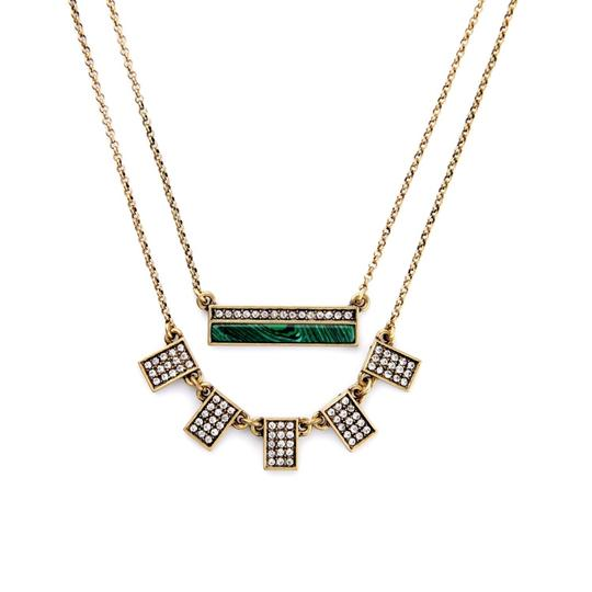 Other Malachite Pave Stone Layer Necklace