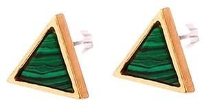 Private Collection Malachite Natural Stone Triangle Stud Earrings