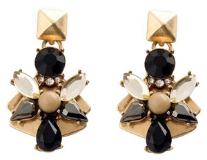Private Collection Black Gray Taupe Stone Statement Earrings