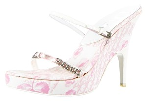 Dior White Ivory White, Pink Sandals