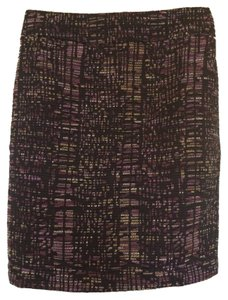 Ann Taylor Skirt Tweed Black/Pink/Yellow