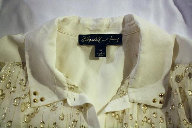 Elizabeth and James Sleeveless Sheer Silk Top ivory and gold