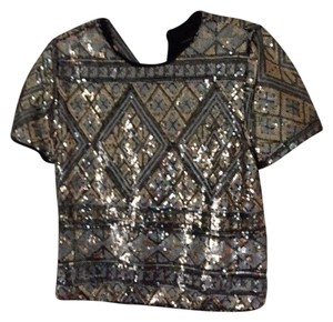 Forever 21 Sequin Boxy Top Black Gold