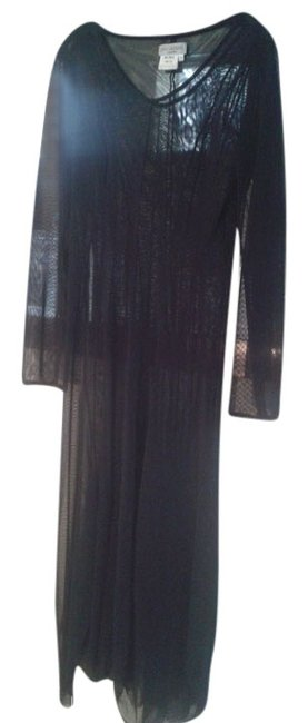 Preload https://item3.tradesy.com/images/ivan-grundahl-black-sheer-see-through-stretchy-flared-skirt-long-night-out-dress-size-12-l-10497052-0-1.jpg?width=400&height=650