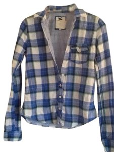 Gilly Hicks Blue Blue Button Down Shirt Blue/multi plaid