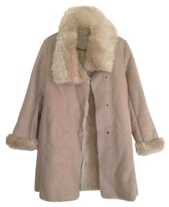 Ann Taylor Faux Fur Cozy Warm Lined Beige Jacket