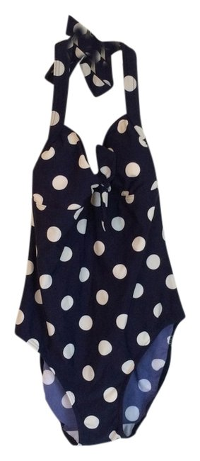 Item - Navy with White Polka Dots Retro Swimsuit One-piece Bathing Suit Size 6 (S)
