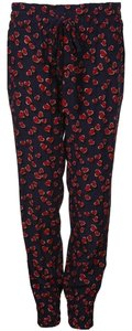 Gucci Heart Print Silk Elastic Trouser Pants navy/red hearts