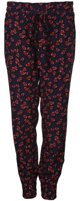 Item - Navy/Red Hearts Print Silk Elastic Casual Relaxed Fit Pants Size 6 (S, 28)