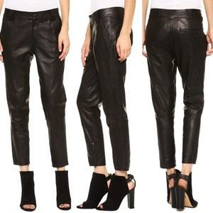 Vince Leather Moto-inspired Capri/Cropped Pants Black