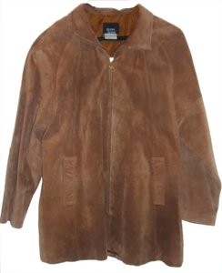 Dennis Basso Soft Suede Brown Leather Jacket
