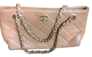 Chanel Vintage Double Chain Leather Shoulder Bag