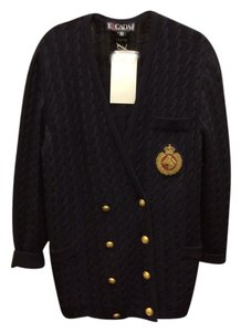 Escada Cable Knit Vneck Crest Pockets Gold Buttons Sweater