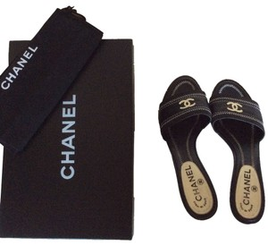 Chanel Sandal Flat High Heel black,white Mules