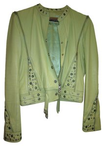 Marc Laurent Studded Lime Green Lambskin Leather Jacket