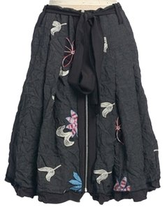 Anthropologie Floral Winter Crinkled Embroidered Skirt GRAY