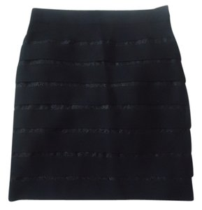 Ann Taylor Knit Lace Black Pencil Skirt