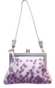 Valentino Evening Floral Beaded Rhinestone Lavendar Clutch