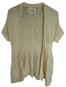 Anthropologie Angel Of The North Lace Crochet Short Sleeve Ivory Cardigan