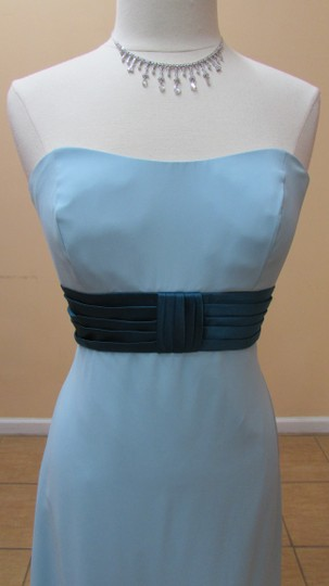 Alfred Angelo Robin Egg Blue / Tealness Chiffon / Satin 6557 Modern Bridesmaid/Mob Dress Size 12 (L)