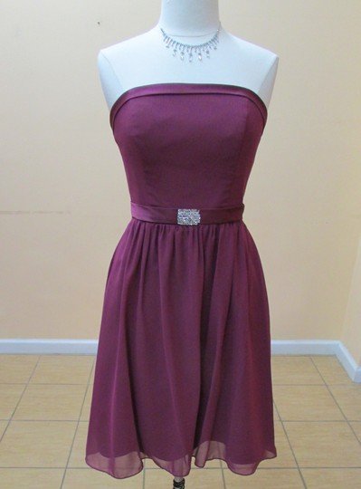Alfred Angelo Berry Chiffon / Satin 7065 Modern Bridesmaid/Mob Dress Size 8 (M)