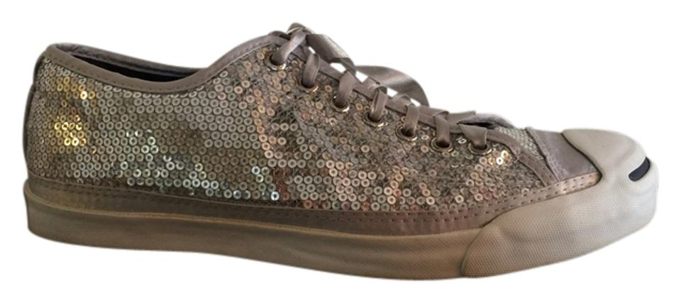 ac5ee5a2ba01 Converse Silver Sequin Jack Purcell Ltt Ox Sneakers Flats Size US 8 ...