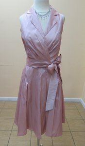 Alfred Angelo Petal Pink Taffeta 6568 Modern Bridesmaid/Mob Dress Size 8 (M)