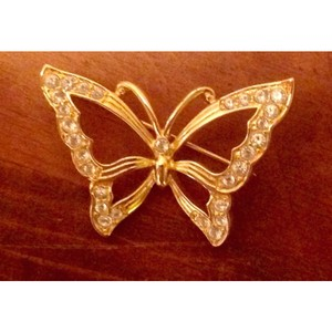 MONET Butterfly rhinestone pin