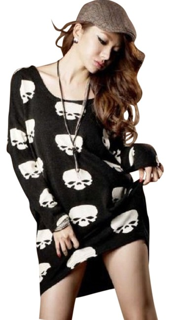 Preload https://item2.tradesy.com/images/black-new-2016-women-skull-print-casual-tunic-o-neck-loose-short-sweater-dress-button-down-top-size--10500946-0-1.jpg?width=400&height=650