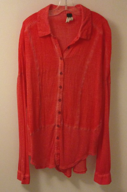 Free People Button Front Shirt Tail Hem Button Down Shirt Orange