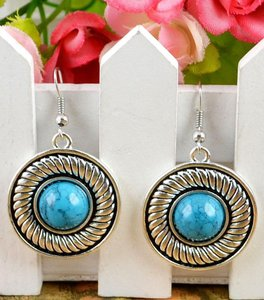 Round Tibet Silver Blue Turquoise Earrings Free Shipping