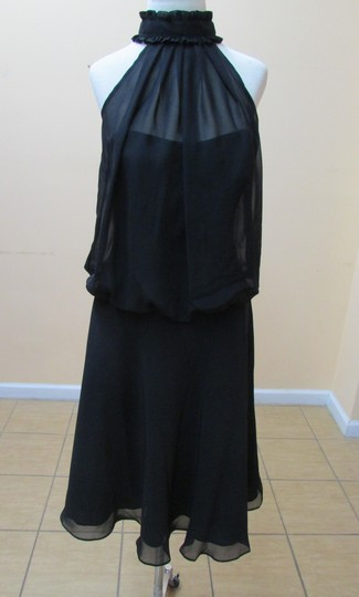 Alfred Angelo Black Chiffon 7061 Modern Bridesmaid/Mob Dress Size 8 (M)