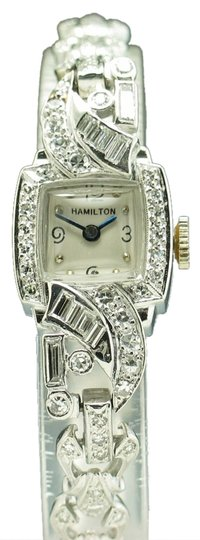 Hamilton Lady's Vintage Hamilton Platinum/Diamond Cushion Shaped Watch