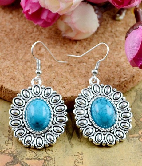 Bogo Free Dangle Turquoise Tibet Silver Earrings Free Shipping