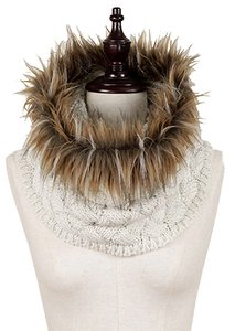 New Faux Fur Cable Knit Cream Infinity Scarf/Hood