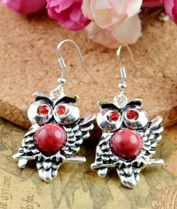 Silver Red Bogo Free Dangle Owl with Accent Free Shipping Earrings