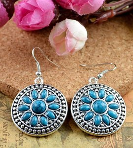 Antiqued Silver Turquoise Earrings Free Shipping