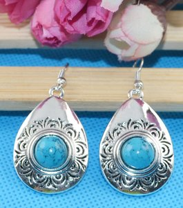 Silver/Turquoise Bogo Free Dangle Antiqued Free Shipping Earrings