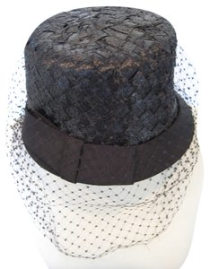 Leslie James Elegant Fancy Black Woven Straw Satin Bow Fish Net Veil Dress Hat