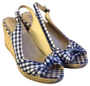 Lands' End Blue and white gingham Wedges